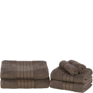 Highams 100% Egyptian Cotton 6 Piece Towel Bale (500 gsm) - Chocolate