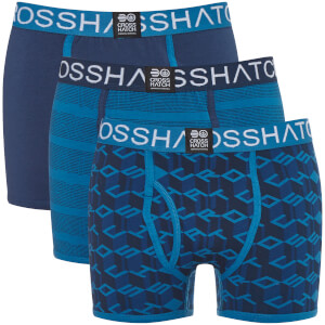 Lot de 3 Boxers Causeway Crosshatch - Bleu