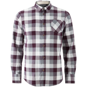 Brave Soul Men's Persuader Long Sleeve Check Shirt - Wine