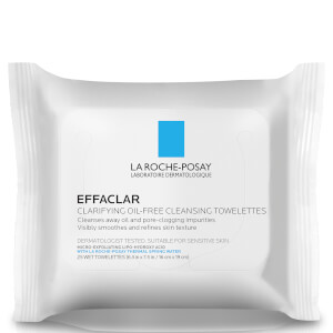 La Roche-Posay Effaclar Clarifying Oil-Free Cleansing Towelettes Facial Wipes, 25 Count