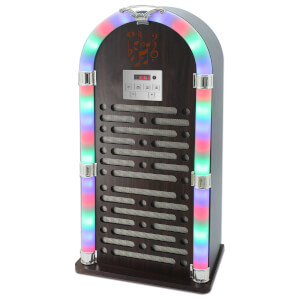 iTek Multi-Functional Bluetooth Jukebox with FM Radio and LED Display - Brown