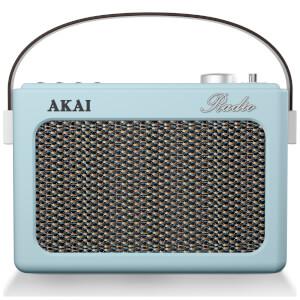 Akai Retro Vintage Portable Wireless AM/FM Radio with LCD Screen - Blue