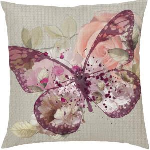 Coussin Imprimé Papillon Floral -Rose (45 x 45cm)
