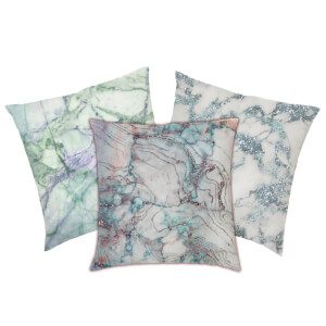 Marble Print Cushion - Green Marbles