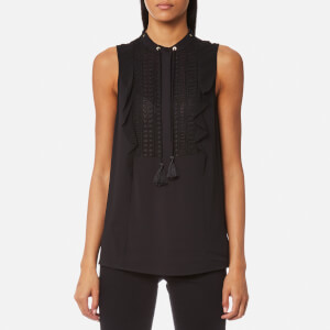 MICHAEL MICHAEL KORS Women's Tank Lace Bib Top with Tie - Black