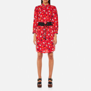 Marc Jacobs Women's Shirt Dress with Belt - Red Multi