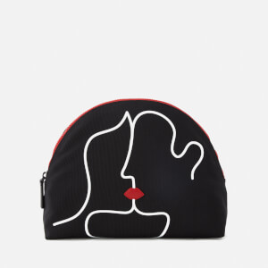Lulu Guinness Women's Kissing Lips Crescent Pouch - Black/Chalk