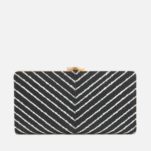 Lulu Guinness Women's Diagonal Stripe Flat Frame Purse - Black/Chalk