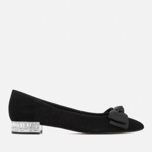Dune Women's Bow Bela Suede Pointed Flat Shoes - Black