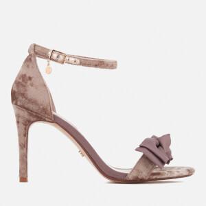 Dune Women's Moella Velvet Bow Barely There Heeled Sandals - Mink