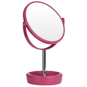 Premier Housewares Swivel Table Mirror with Magnifying Option - Hot Pink Plastic/Chrome