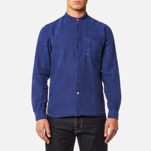 PS by Paul Smith Men's Grandad Collar Tailored Fit Long Sleeve Shirt - Indigo