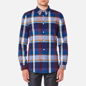 PS by Paul Smith Men's Tailored Fit Check Long Sleeve Shirt - Blue/Red