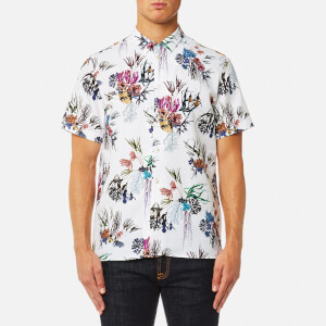 PS by Paul Smith Men's Casual Fit Large Floral Short Sleeve Shirt - White