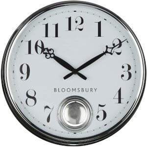 Fifty Five South Bloomsbury Metal Pendulum Wall Clock - Chrome Finish