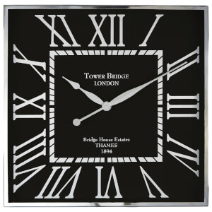 Fifty Five South Kensington Townhouse Wall Clock - Black/White
