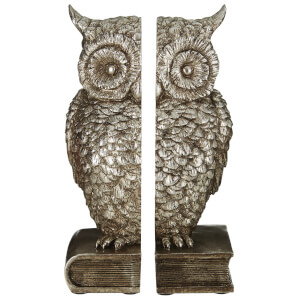 Fifty Five South Owl Bookends - Antique Silver (Set of 2)
