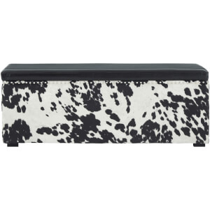 Fifty Five South Rodeo Leather Cowhide Storage Bench - Black/White