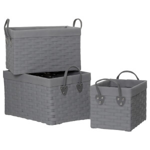 Fifty Five South Lida Willow Rectangular Storage Baskets - Lattice/Grey (Set of 3)