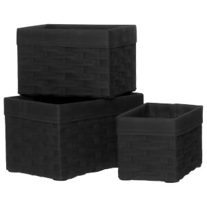 Fifty Five South Lida Rectangular Storage Baskets - Lattice/Black (Set of 3)