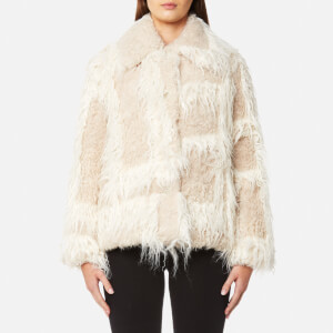 Helmut Lang Women's Plaid Faux Fur Jacket - Chalk/Cream