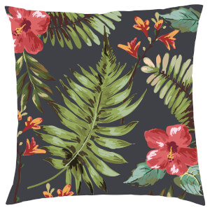 Tropical Floral Cushion - Black
