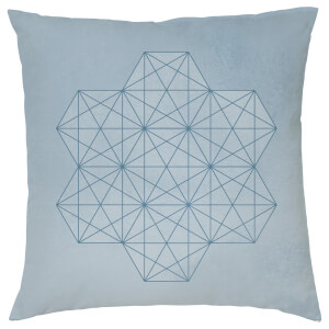 Geometric Star Print Cushion - Blue