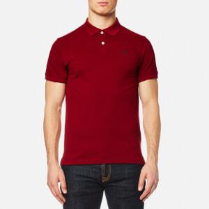 GANT Men's Contrast Collar Pique Short Sleeve Polo Shirt - Mahogany Red