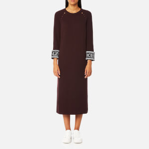 KENZO Women's Reversible Sleeve Knit Midi Jumper Dress - Chocolate