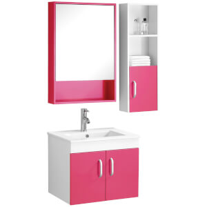 Beaumont Basin, Under Sink Cabinet, Mirrored Cabinet and Side Cabinet Set - Hot Pink/White High Gloss