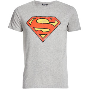 DC Comics Men's Superman Distressed Logo T-Shirt - Grey