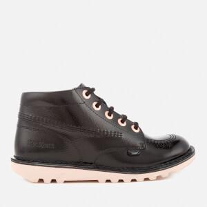 Kickers Kids' Kick Hi Patent Boots - Black/Rose Gold