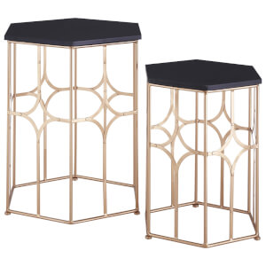 Fifty Five South Lexa Side Tables (Set of 2) - Rose Gold/Matt Black
