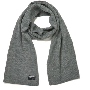 Jack & Jones Men's DNA Knitted Scarf - Grey Melange