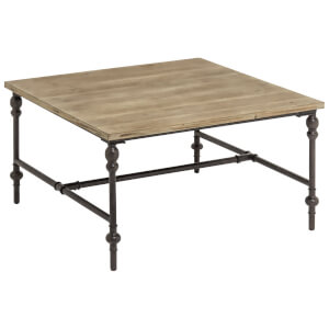 Fifty Five South Tribeca Square Coffee Distressed Finish Table