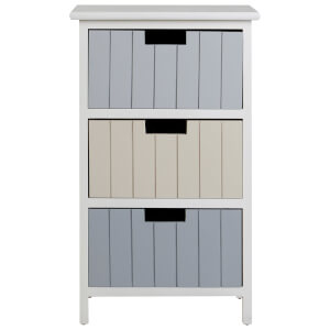 Fifty Five South New England Three Drawer Chest - White/Pastel