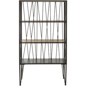 Fifty Five South New Foundry Four Tier Shelf Unit - Fir Wood/Metal