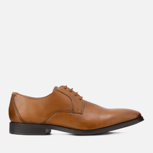 Clarks Men's Gilman Lace Leather Derby Shoes - Dark Tan