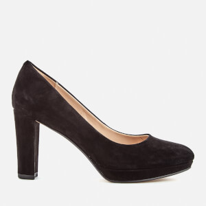 Clarks Women's Kendra Sienna Suede Platform Court Shoes - Black