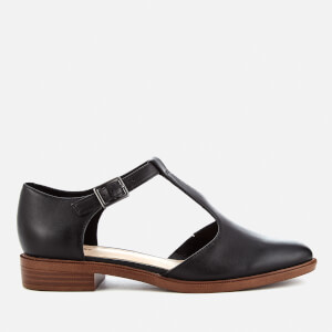Clarks Women's Taylor Palm Leather T-Bar Flats - Black