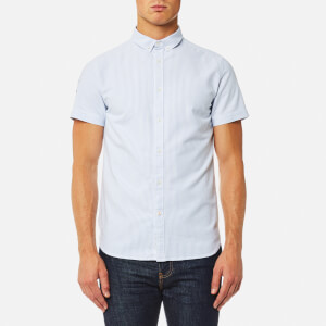 Superdry Men's Ultimate Lite Loom Short Sleeve Oxford Shirt - Ticking Stripe Blue