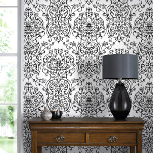 Superfresco Empress Glitter Damask Wallpaper - Black/White