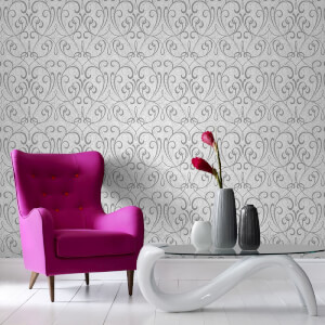 Boutique Cork Damask Metallic Textured Wallpaper - Light Grey/Silver