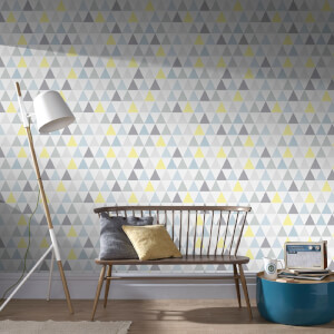 Superfresco Easy Tarek Geometric Wallpaper - Yellow/Grey