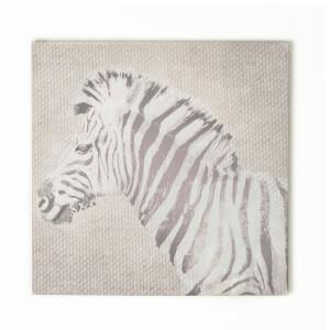 Art For The Home Zebra Printed Linen Texture Canvas Wall Art