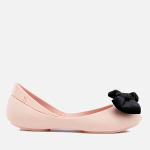 Mini Melissa Kids' Queen Velvet Bow Ballet Flats - Blush Contrast