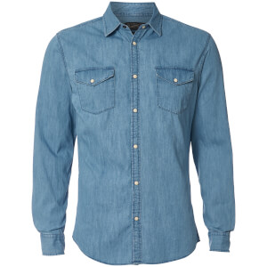 Jack & Jones Men's Originals New One Long Sleeve Denim Shirt - Light Blue