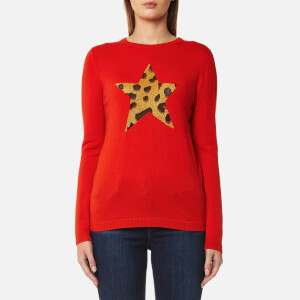 Bella Freud Women's Iggy Leopard Star Jumper - Red