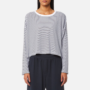T by Alexander Wang Women's Long Sleeve Drop Shoulder T-Shirt - White/Navy Stripe