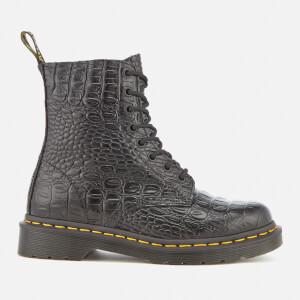 Dr. Martens Women's Pascal Croc Leather 8-Eye Lace Up Boots - Black